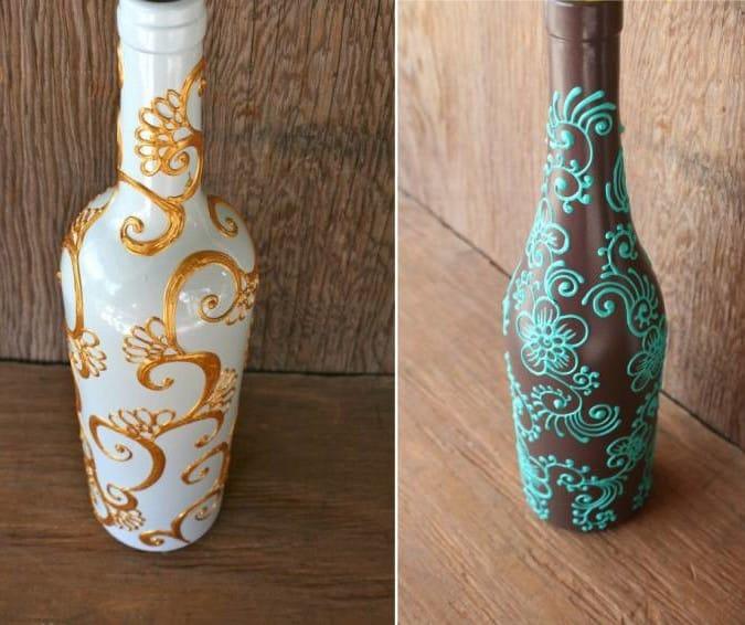 Как украсить стеклянную бутылку своими руками