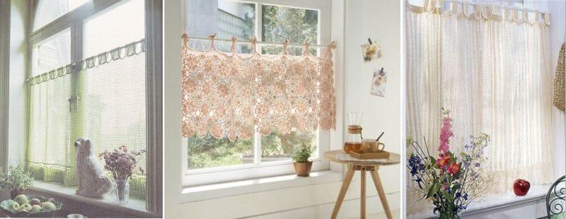 вязаные шторы для кухни ламбрекены шторы кафе и занавески фото