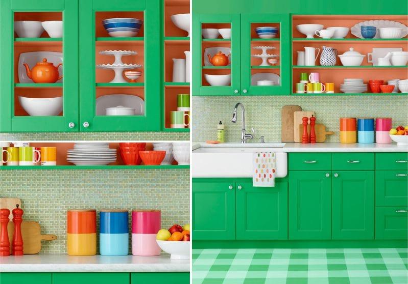 оранжевая с зеленым кухня фото
